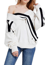 2018 Black White Women Sweaters Deep V-neck