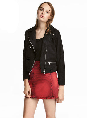 Solid Color Black Suede Fabric Biker Jackets