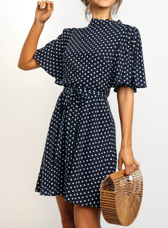 Polka Dot Dress Women Summer Boho Beach Mini Dress