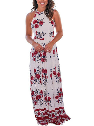 Maxi Chiffon Dresses Tunic Floral Print Dress Sleeveless
