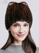 Natural Mink Fur Lovely Cat Ear Hats Cap