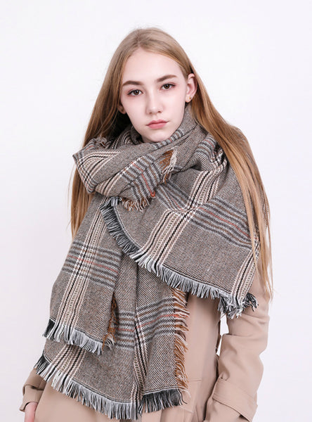 Plaid Cashmere Scarf Warm Shawl