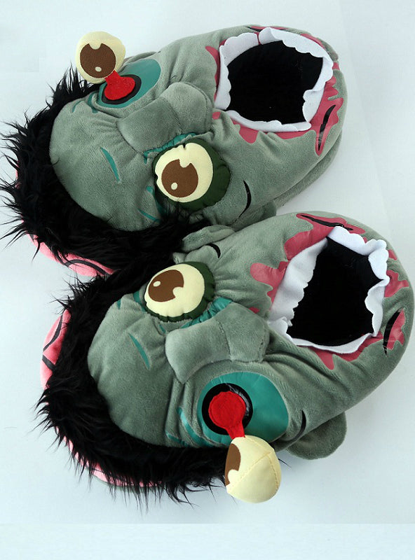 1Pair Plush Zombie Slippers / Ravenous Warm Slippers