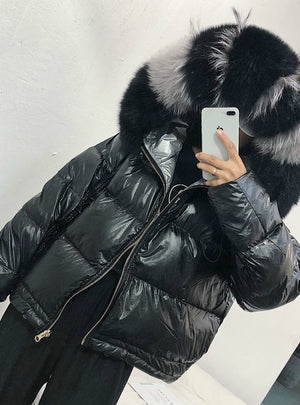 Real Fur Coat Natural Fox Fur Collar 2019 Winter Jacket