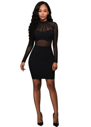 Long Sleeve Bodycon Bandage Sexy Club Short Lace Dress