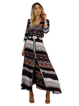 Beach Boho Maxi Dress Brand V-neck Print