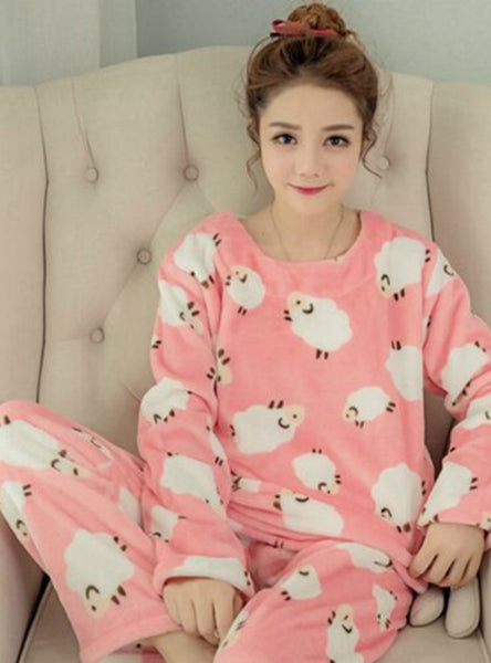 Litter Sheep Pyjamas Sets Thick Warm Coral Velvet Suit