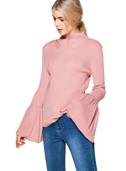 Women Sweaters Bodycon Long Flare Sleeve Pullovers