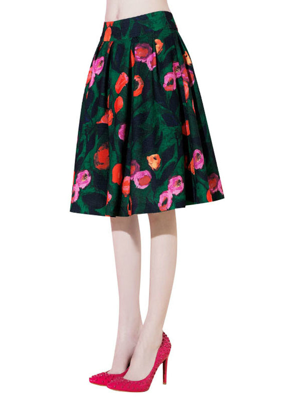 Fashion retro pastoral style flower printed high waisted skirt