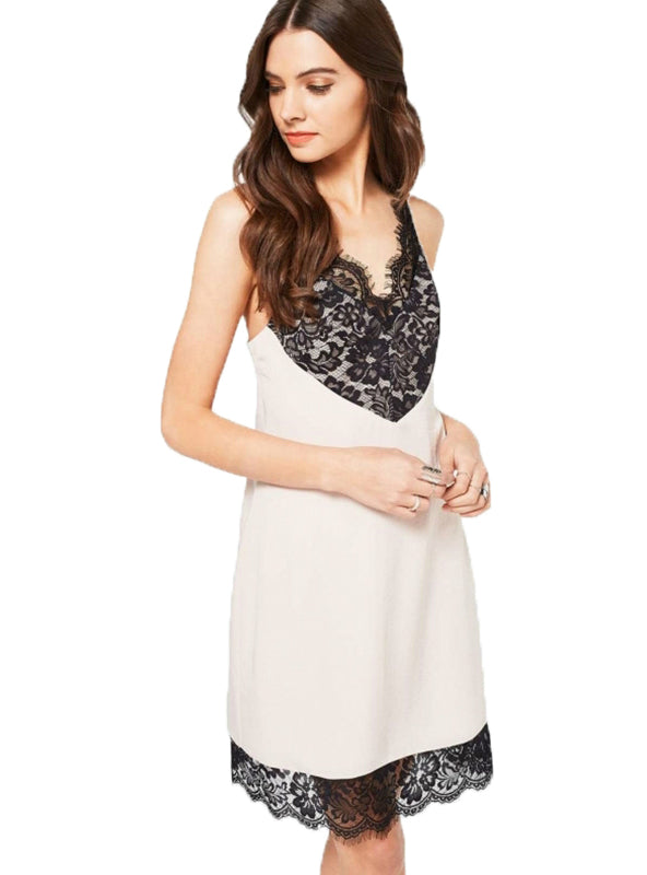 White Strap Mini Dress Black Lace Casual Dress
