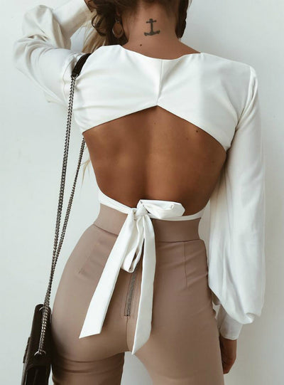 Open Back Strap Sexy Long Sleeve Blouse