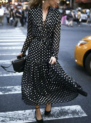 Bohemian Maxi Polka Dot V-Neck Wrap Dress