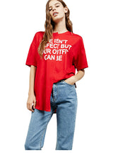 Short Sleeve Street Loose O-neck Red Casual T-shirt