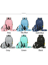5 Pcs/set Women Backpacks Cute Cat School Bags