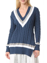 Striped V Neck Slim Knitted Sweater Long Sleeve
