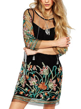 Floral Embroidery Lace See Casual Boho Dress