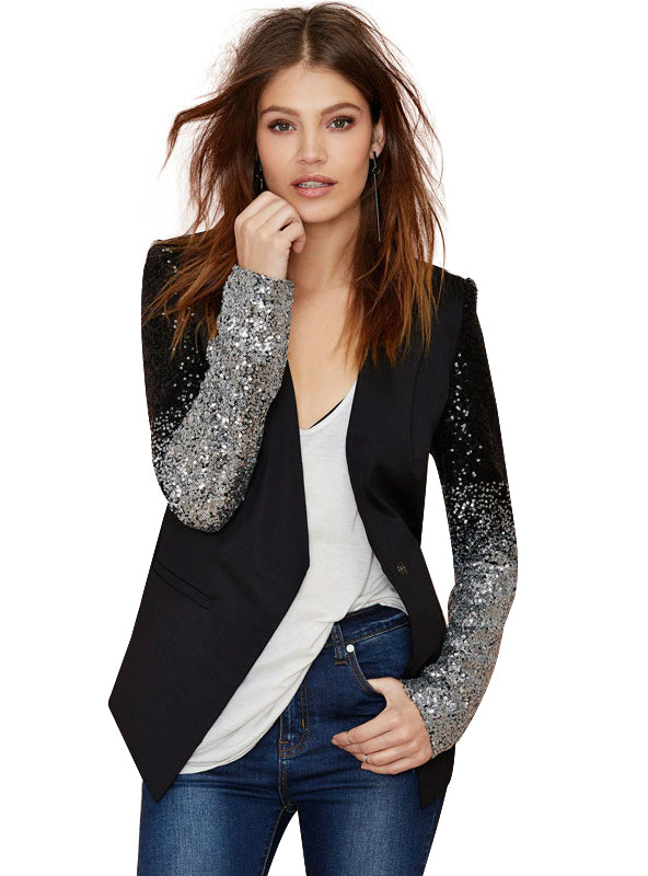 Black silver sequins Jackets full sleeve winter coat