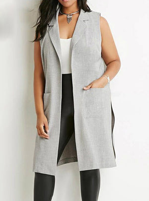 Side Split Blazer Vests Turn-down Collar Sleeveless