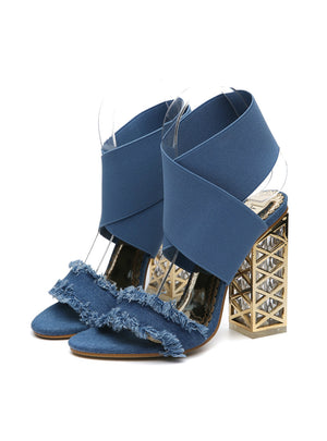 Luxury Metal Square High Heels Denim Sandals