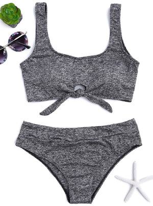 Front Tied Heathered Bikini Set Mid Waisted