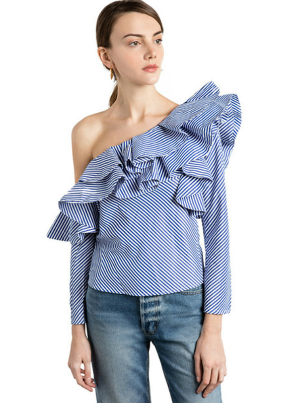 One Shoulder Frill Ruffle Striped Shirt Autumn