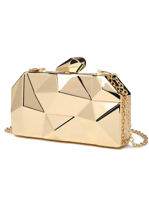 Gold Acrylic Box Geometry Clutch Evening Bag