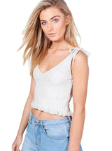 V-neck Sleeveless Straps Crop Tops Brief Thick Solid