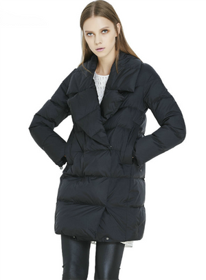 Down Jacket Coat Female Turn Down Collar Solid