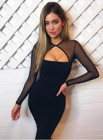 Club Wear Long Sleeve Bodycon Dress