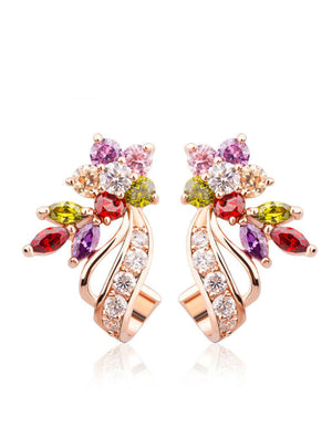 Big Stud Earrings Multicolor AAA Zircon Stone