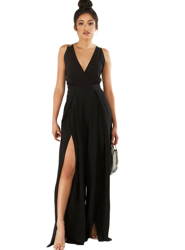 Black Deep V Neck Slit Jumpsuit Strap Cross Back