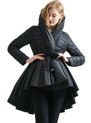 Winter Female Down Jacket Skirt Coat Asymmetric