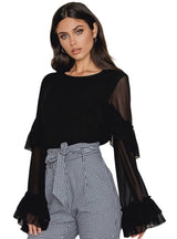 Black Semi Sheer Ruffle Sleeve Chiffon Blouse