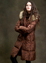 Women Fur Parka With Hood Long Down Coat