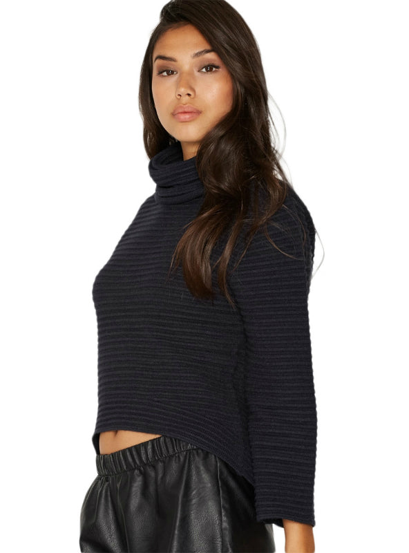 High-low Full Sleeve Solid Black Turtleneck Sweaters