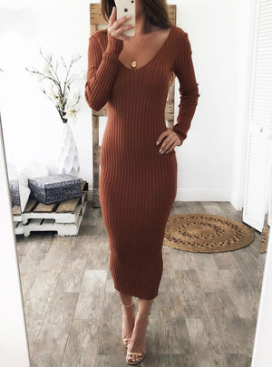 Women Off Shoulder Midi Sexy Bodycon Dress