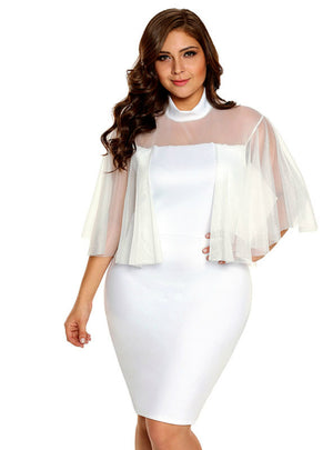 Flare Sleeve White Bodycon Plus Size Dress