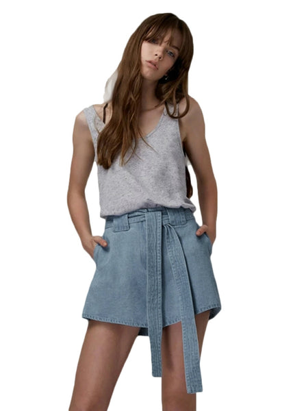 Short Women Denim A-Line Drawstring High Waist