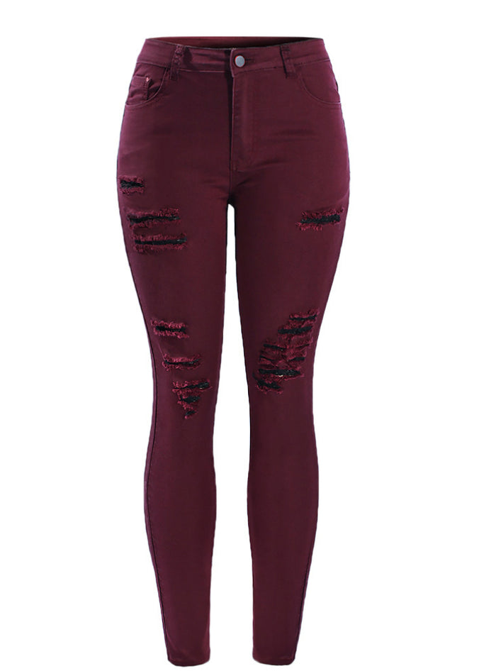 Red Mid High Waisted Stretch Ripped Skinny Jeans