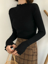 Women Sweater High Elastic Solid Knitted Pullovers