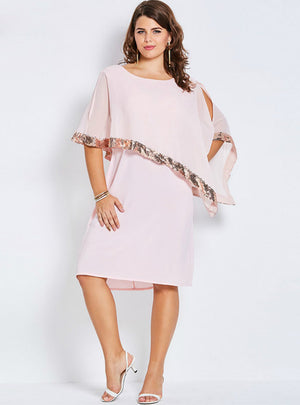 Pink Dress Half Batwing Sleeve Casual Asymmetric
