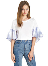 Women O-neck Ruffle Sleeve Loose Casual Tops