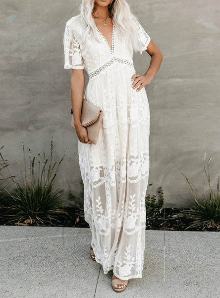 Sexy White Lave Lace See-Through Trumpet Sleeve Maxi Dress
