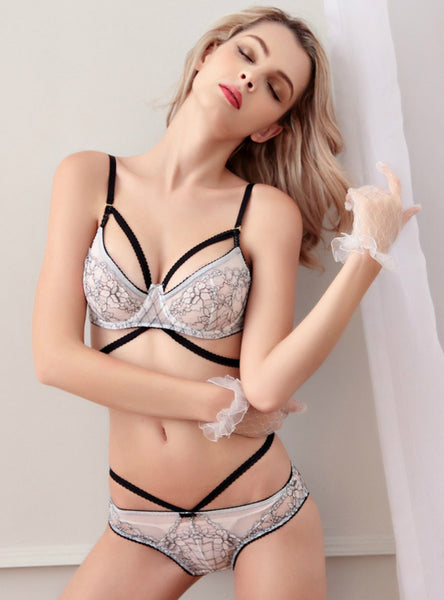 White Ultra Thin Transparent Sexy Thin Bra Set