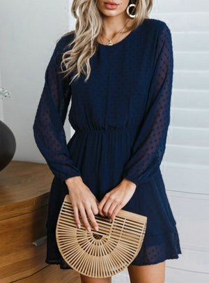 Elegant Long Sleeve Polka Dot Dress Solid Short