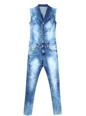 Blue Stretch Denim Skinny Slim Fit Pants Jumpsuit