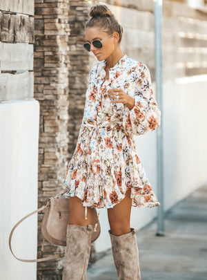 White Ruffled Mini Vintage Print Irregular Dress