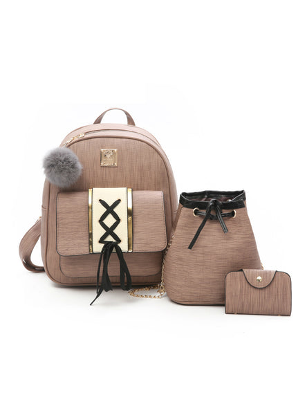 3Pcs/Set Backpack Women Fashion Wood Grain Fur