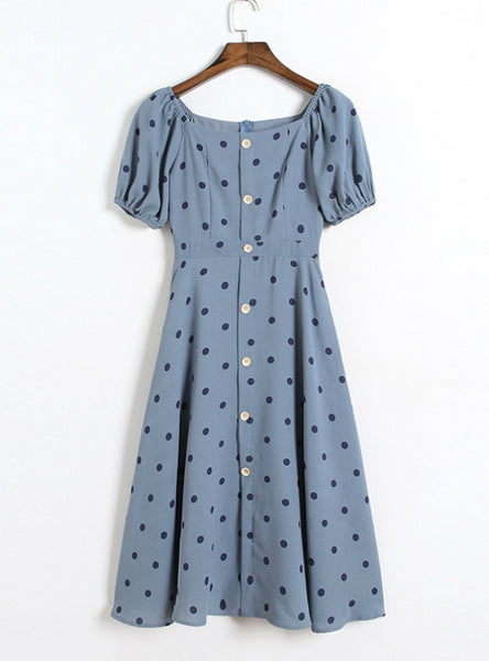 Women Blue Puff Sleeve Point Dot Dress