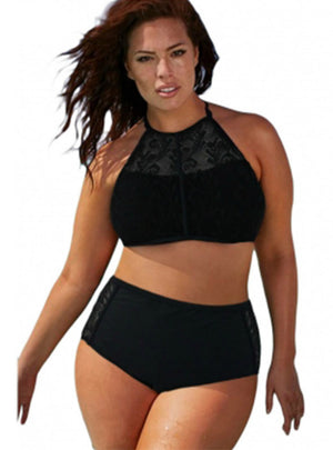 High Waist Swimsuit Women Black Lace